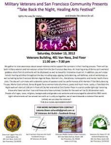 Veterans Art Guild of San Francisco, Take Back The Night flyer